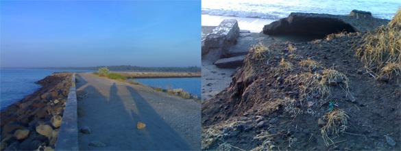 Sisa-sisa bangunan terkena abrasi di pinggi pantai