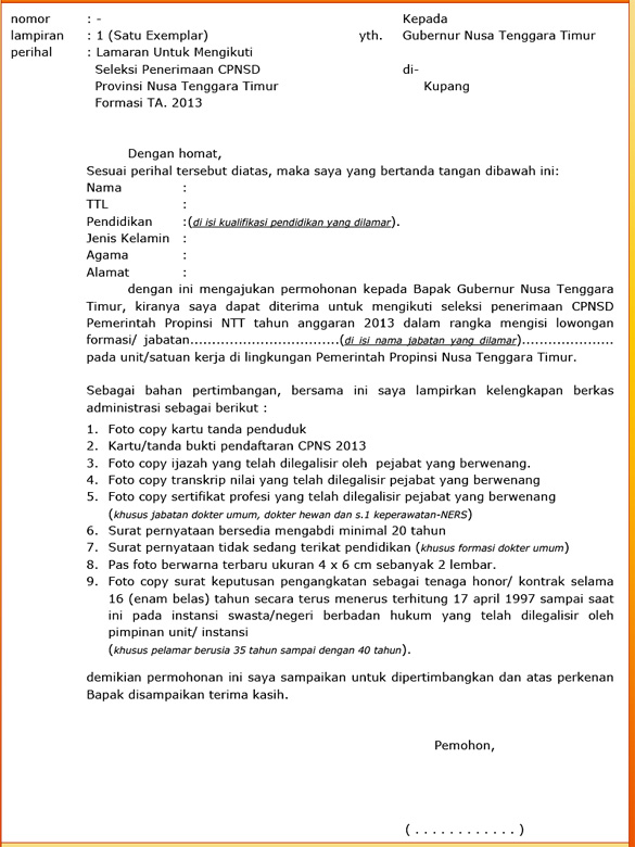 Contoh Surat Lamaran Kerja Cpns Kementerian Hukum Dan Ham